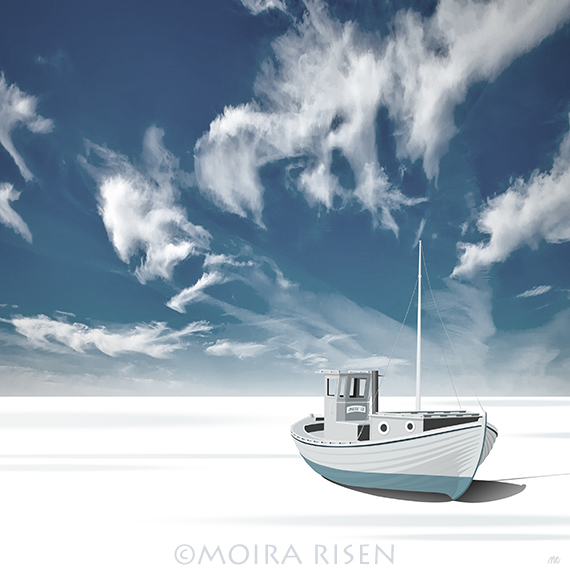 small fishing boat tug ashore stranded salt desert salar de uyuni bolivia salt flat blue sky white cirrus clouds far horizon