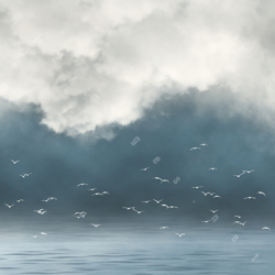 spiritual landscape misty water waves low clouds white birds ascension soul faith believe spirit peace catharsis