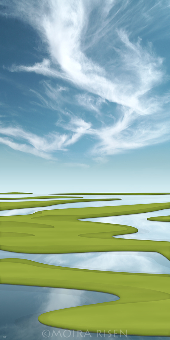 wetland sea shore ocean strand beach green grass islands blue sky white cirrus reflection landscape still water peaceful dragon dinosaur clouds inlets golf field
