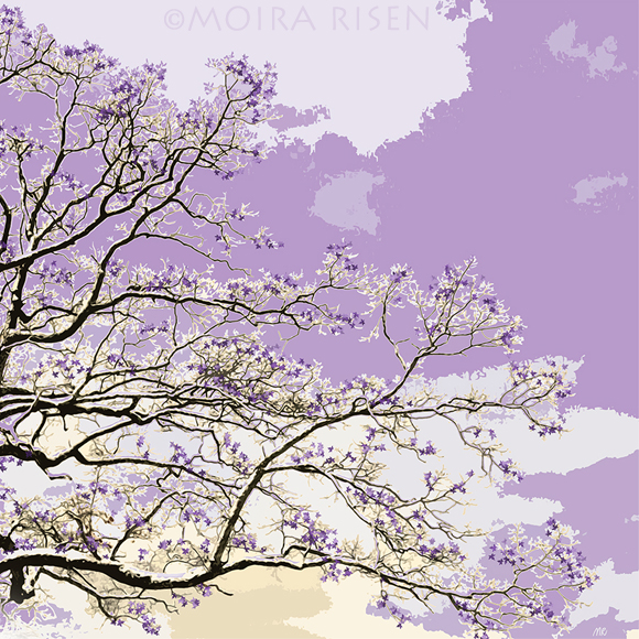 tree branches leaves purple sky autumn winter falling leaf japanese woodblock