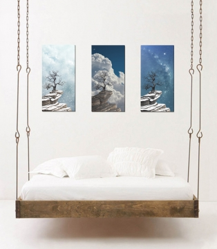 landscape painting series tree mountain clouds sky storm night milky way stars