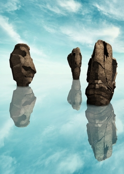 eastern islands statues huge human face shaped cliffs stone giants standing in water fantasy seascape