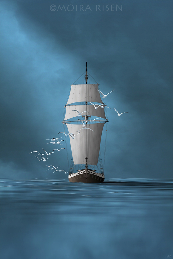 fishing boat sailboat sailing homeshore to haven with flying gulls front bow sails dark sky water seas ocean white birds