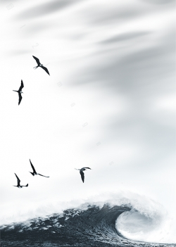 minimalist seascape art rolling waves ocean black brids pale sky modern painting