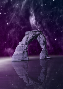 portal fantasy arch magical door entrance to other world dimension misty starry sky fog starlight on sea