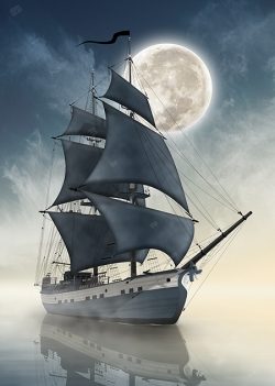 tall ship brig barque two masted square rigged sailing front bow sea sunrise sunset dawn full moon above ocean