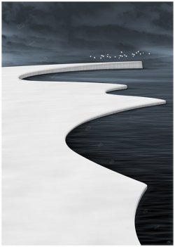 ice field sea north snow snowfield winter white black water birds flying sky clouds dark