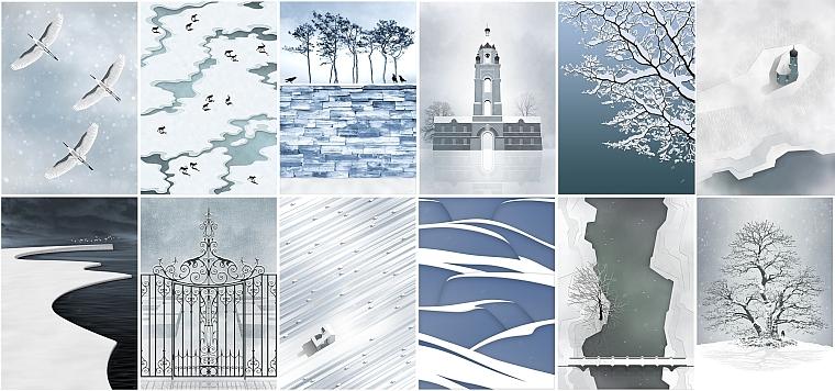 winter wall digital art print christmas decor artwork landscape snow birds lake river tree sky snowfall clouds mist fog gift present