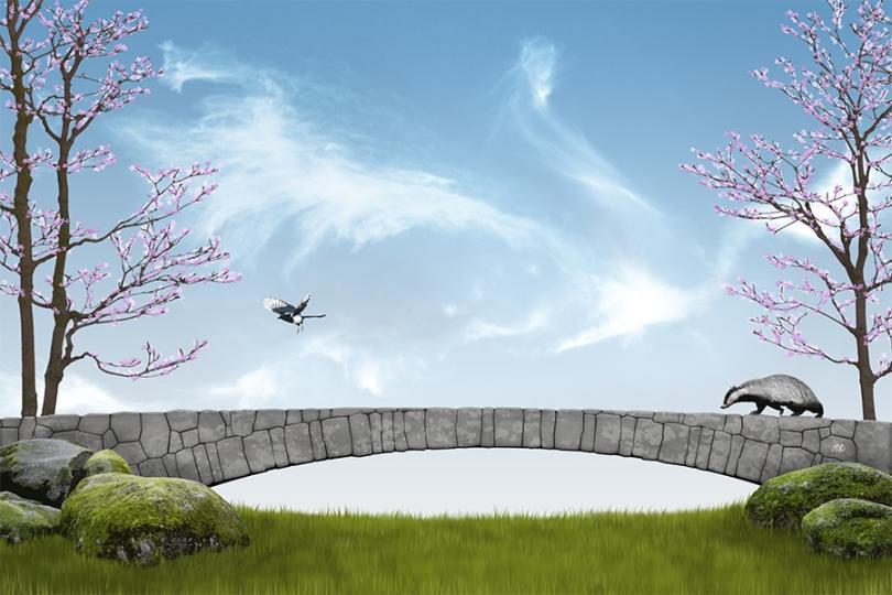 dragon-cloud-blue-sky-spring-rose-flower-trees-magpie-badger