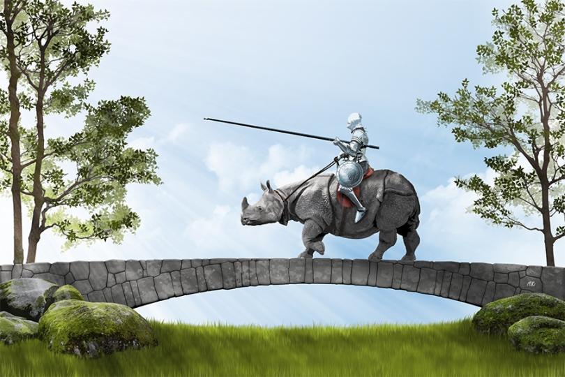 knight-in-armor-riding-rhinoceros-old-stone-bridge-sunrays